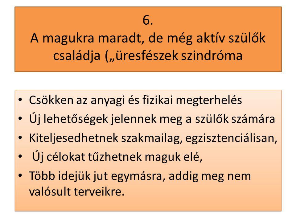 """6. A magukra maradt, de még aktív szülők családja (""""üresfészek szindróma"""