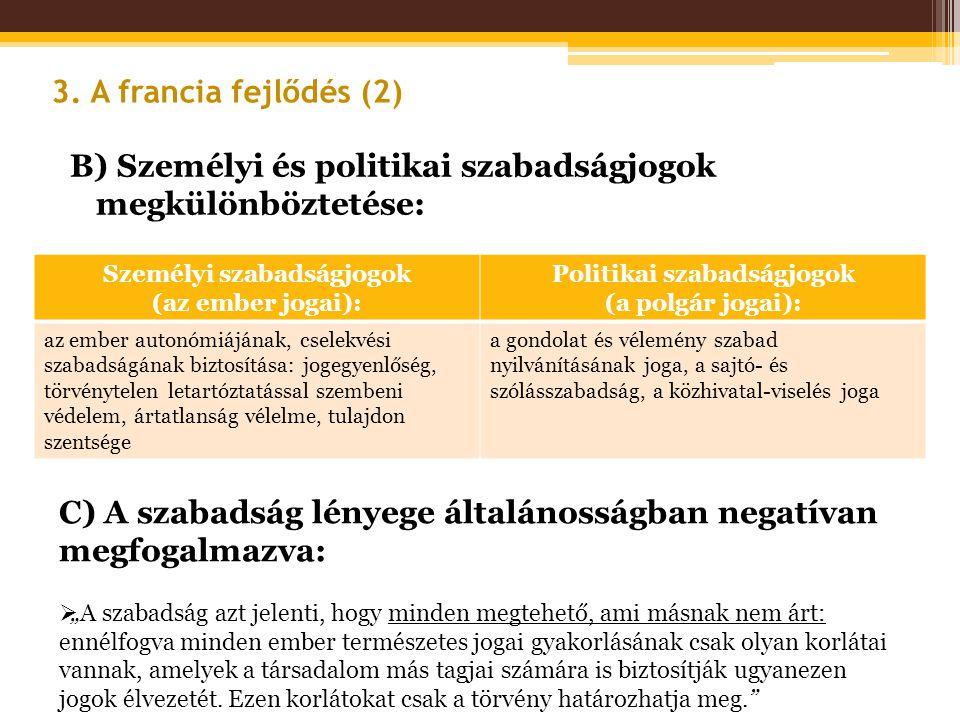 Személyi szabadságjogok Politikai szabadságjogok