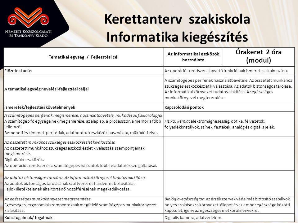Kerettanterv szakiskola Informatika kiegészítés