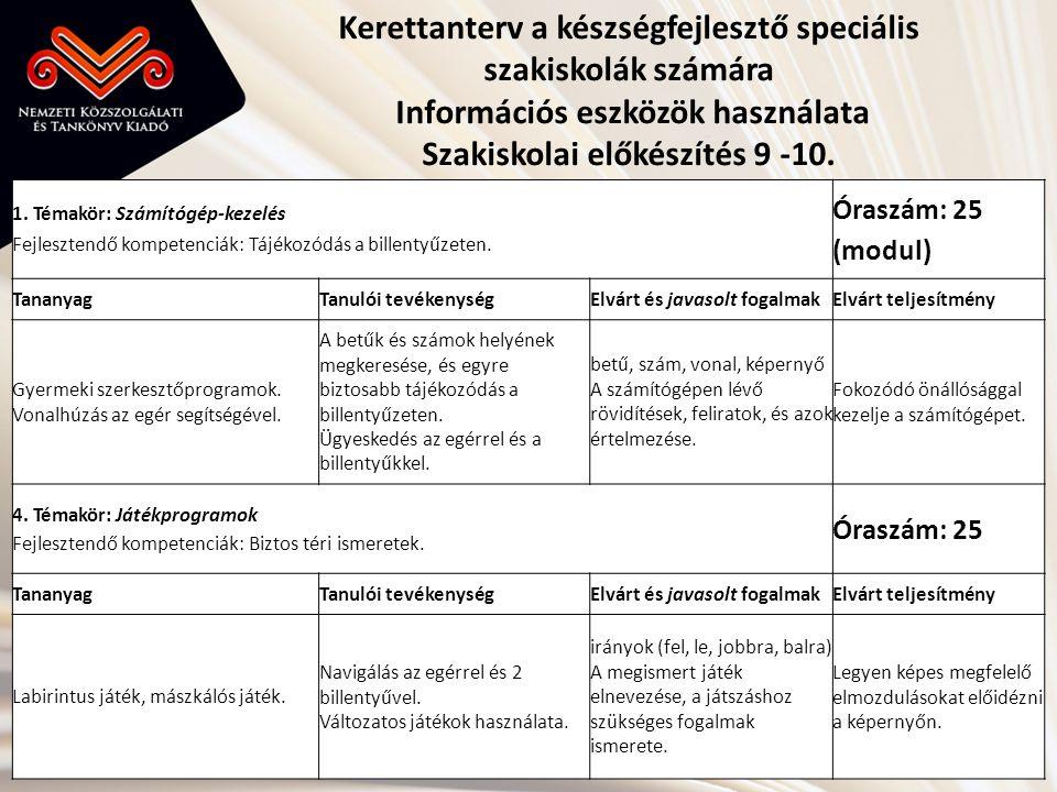 Kerettanterv a készségfejlesztő speciális szakiskolák számára Információs eszközök használata Szakiskolai előkészítés 9 -10.