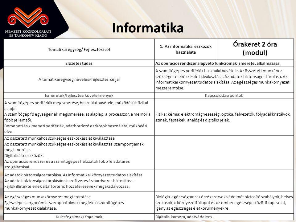 Informatika Órakeret 2 óra (modul) Tematikai egység/ Fejlesztési cél