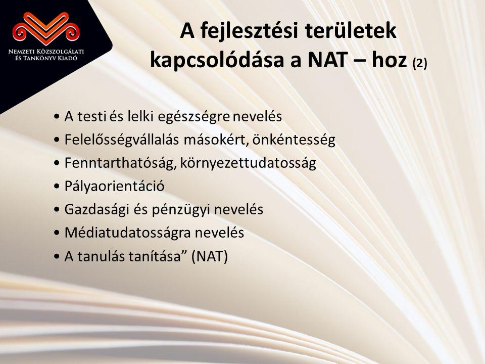 A fejlesztési területek kapcsolódása a NAT – hoz (2)