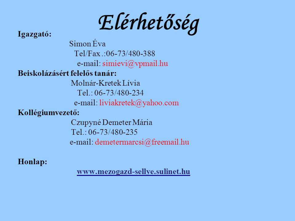 Elérhetőség Igazgató: Simon Éva Tel/Fax .:06-73/480-388