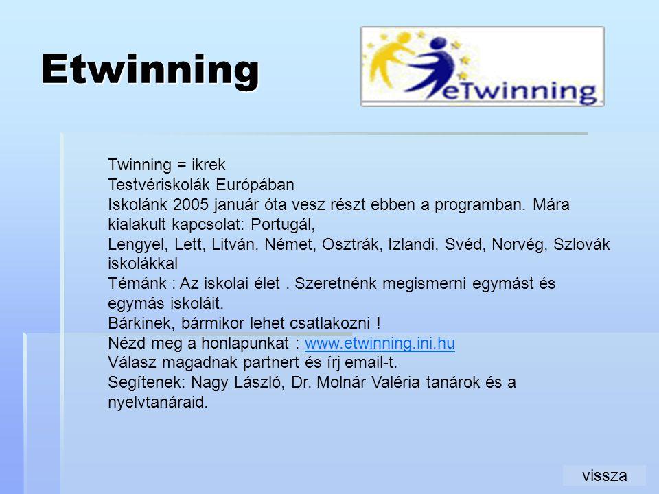Etwinning Twinning = ikrek Testvériskolák Európában