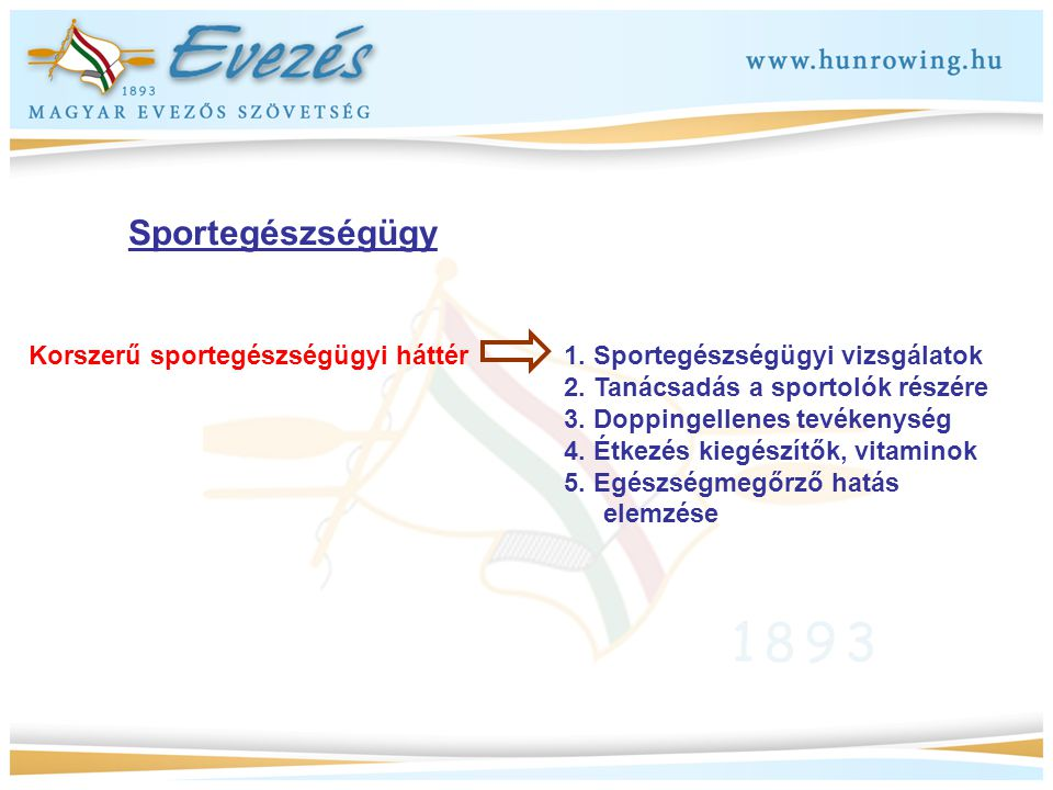 Sportegészségügy Korszerű sportegészségügyi háttér