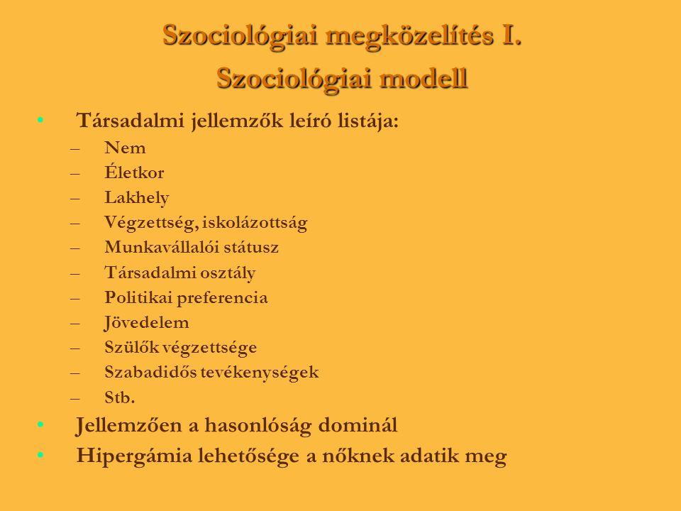 Szociológiai megközelítés I. Szociológiai modell