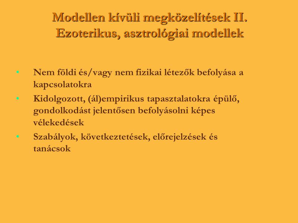 Modellen kívüli megközelítések II. Ezoterikus, asztrológiai modellek