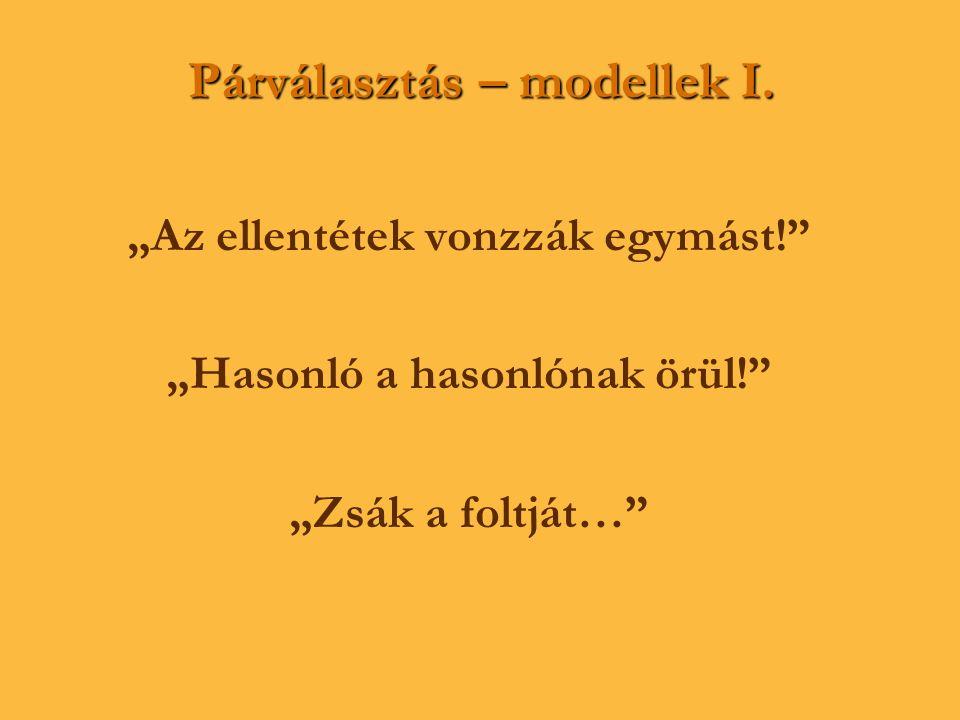 Párválasztás – modellek I.