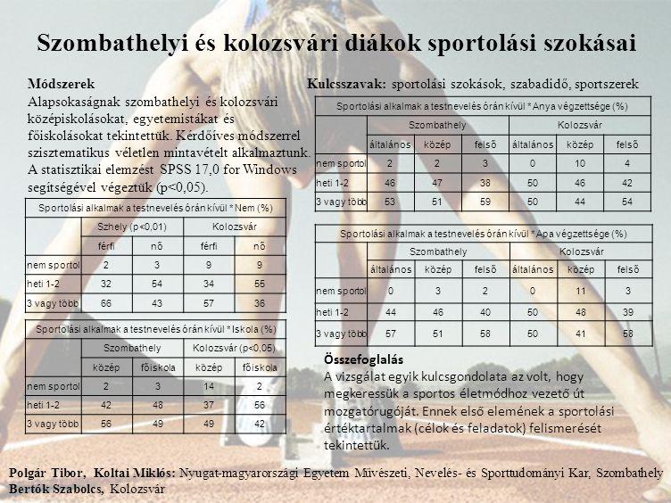 Szombathelyi és kolozsvári diákok sportolási szokásai