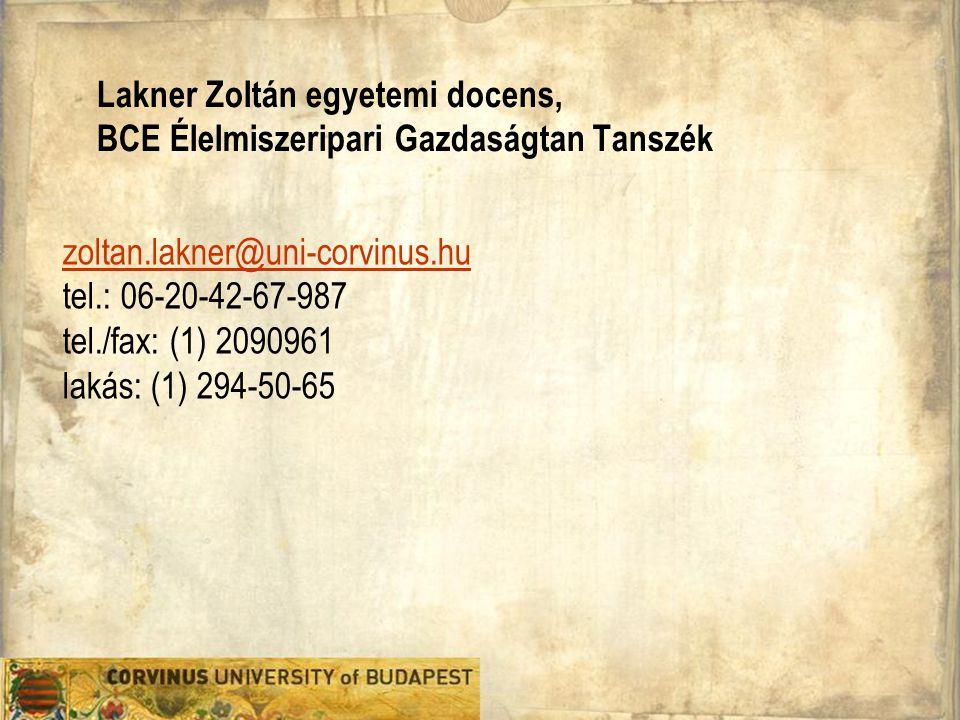 Lakner Zoltán egyetemi docens, BCE Élelmiszeripari Gazdaságtan Tanszék
