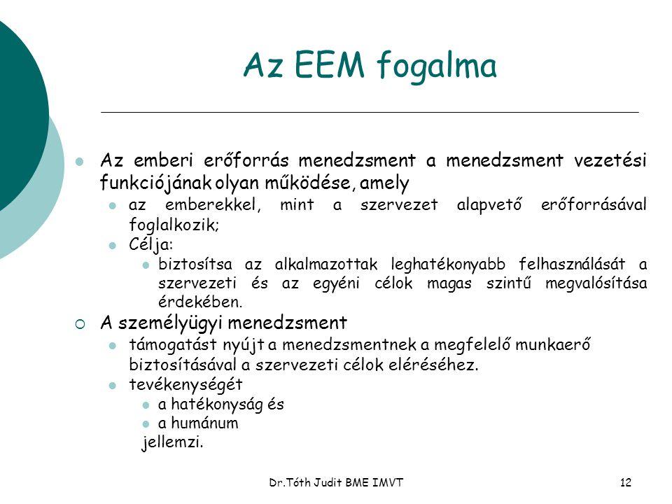 Az EEM fogalma Az emberi erőforrás menedzsment a menedzsment vezetési funkciójának olyan működése, amely.