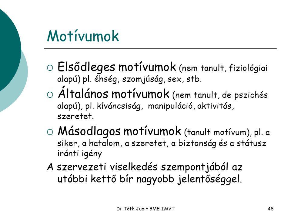 Motívumok Elsődleges motívumok (nem tanult, fiziológiai alapú) pl. éhség, szomjúság, sex, stb.