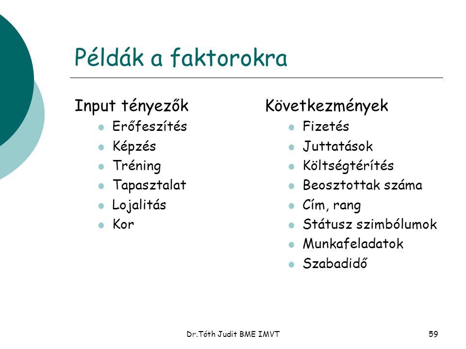 Példák a faktorokra Input tényezők Következmények Erőfeszítés Képzés