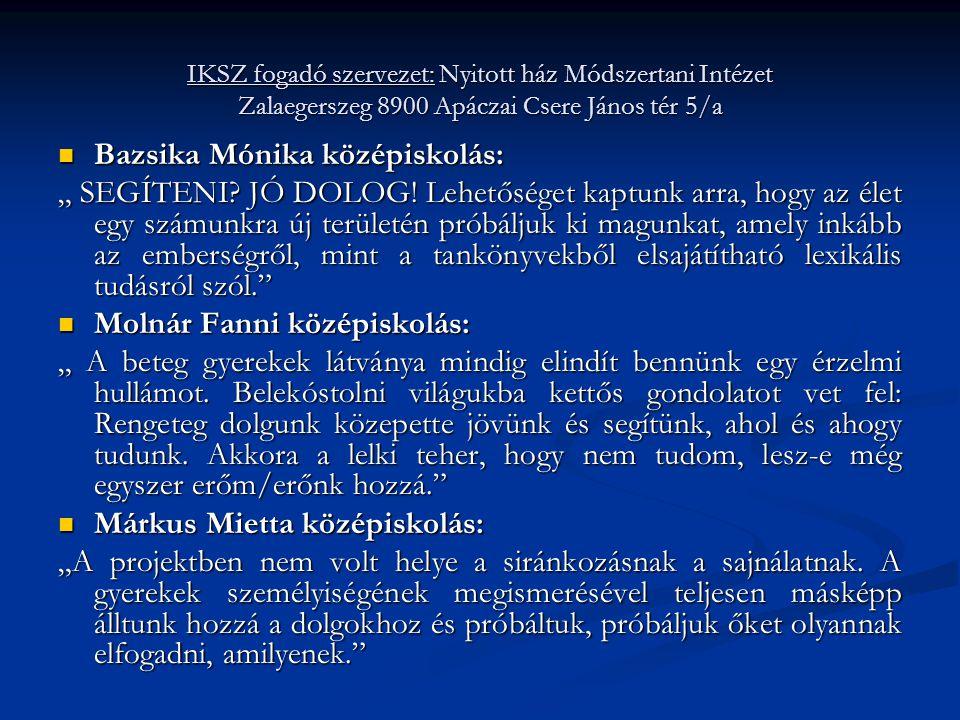 Bazsika Mónika középiskolás: