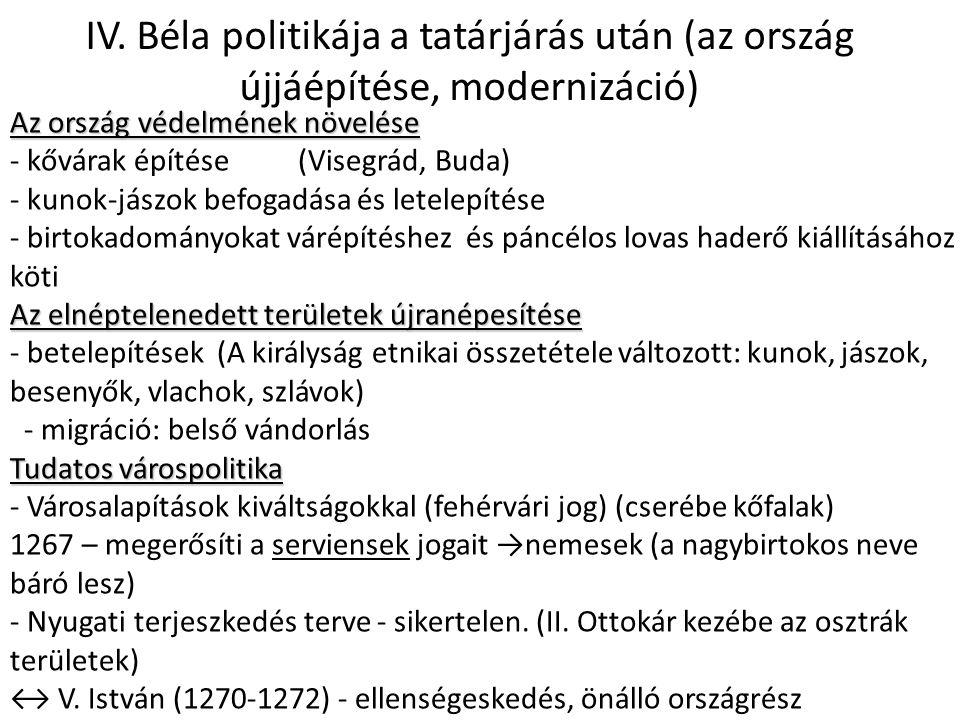 IV. Béla politikája a tatárjárás után (az ország újjáépítése, modernizáció)