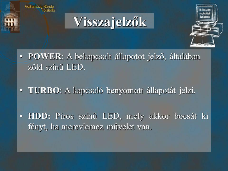 Visszajelzők POWER: A bekapcsolt állapotot jelző, általában zöld színű LED. TURBO: A kapcsoló benyomott állapotát jelzi.