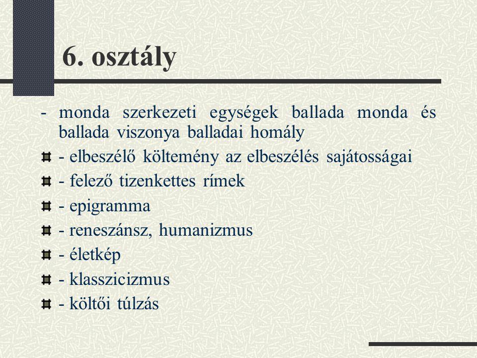 6. osztály - monda szerkezeti egységek ballada monda és ballada viszonya balladai homály. - elbeszélő költemény az elbeszélés sajátosságai.