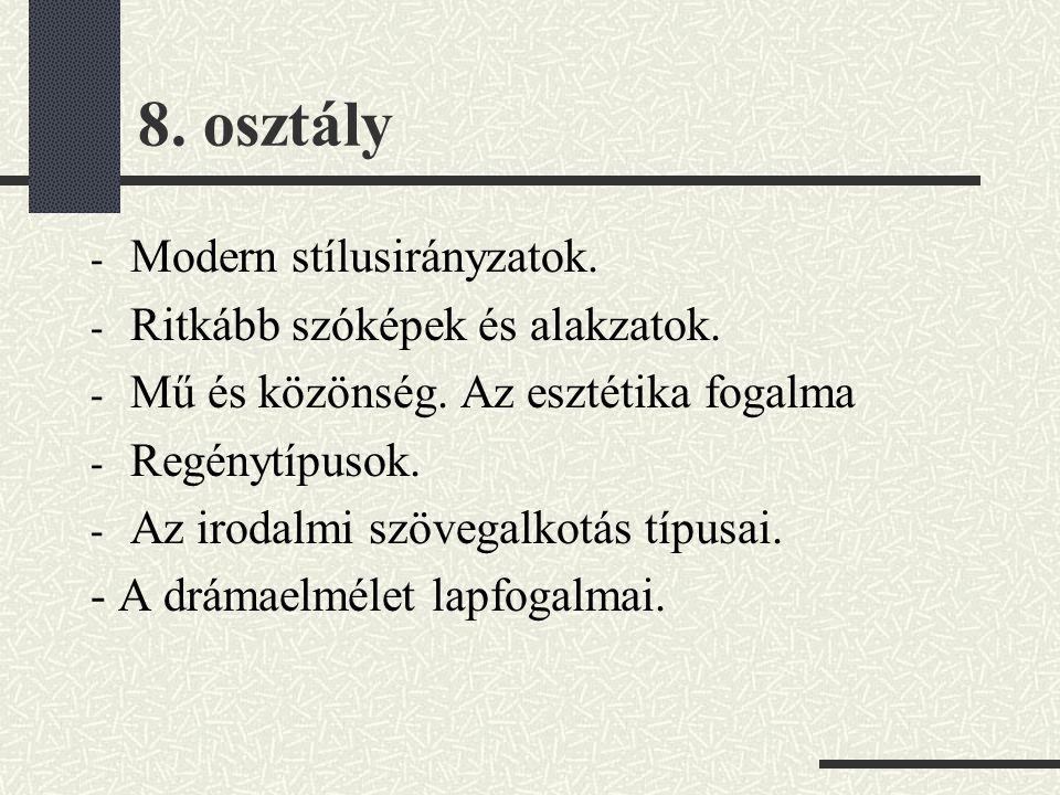 8. osztály Modern stílusirányzatok. Ritkább szóképek és alakzatok.