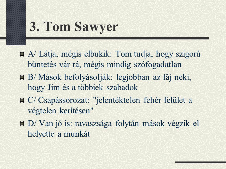 3. Tom Sawyer A/ Látja, mégis elbukik: Tom tudja, hogy szigorú büntetés vár rá, mégis mindig szófogadatlan.