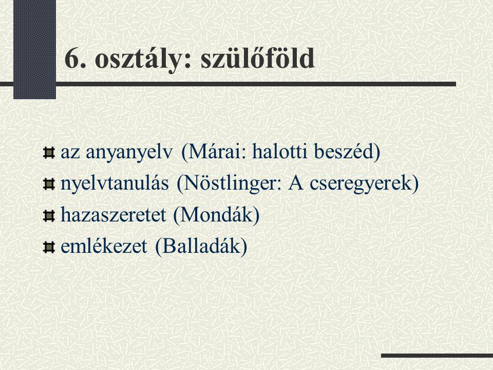 6. osztály: szülőföld az anyanyelv (Márai: halotti beszéd)