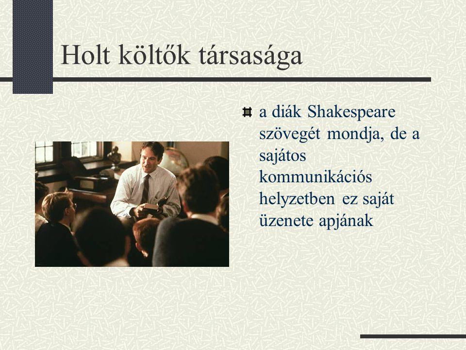 Holt költők társasága a diák Shakespeare szövegét mondja, de a sajátos kommunikációs helyzetben ez saját üzenete apjának.