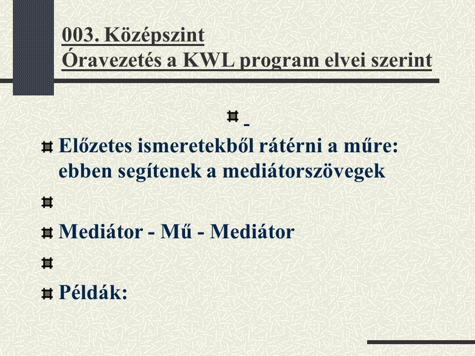 003. Középszint Óravezetés a KWL program elvei szerint