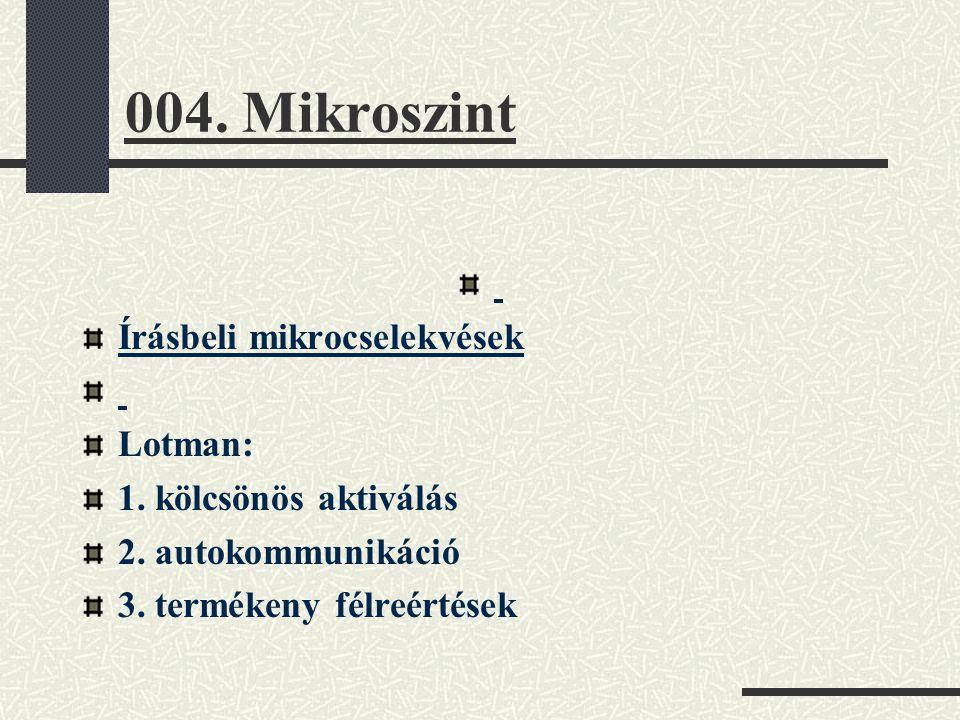 004. Mikroszint Írásbeli mikrocselekvések Lotman: