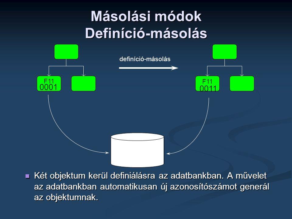 Másolási módok Definíció-másolás