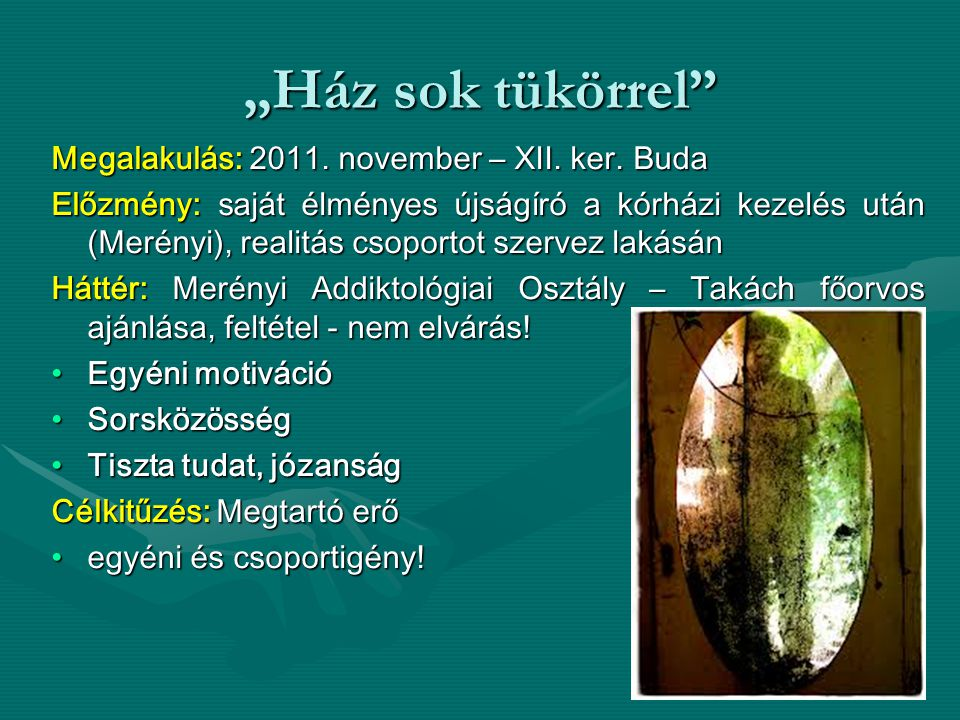 """""""Ház sok tükörrel Megalakulás: 2011. november – XII. ker. Buda"""