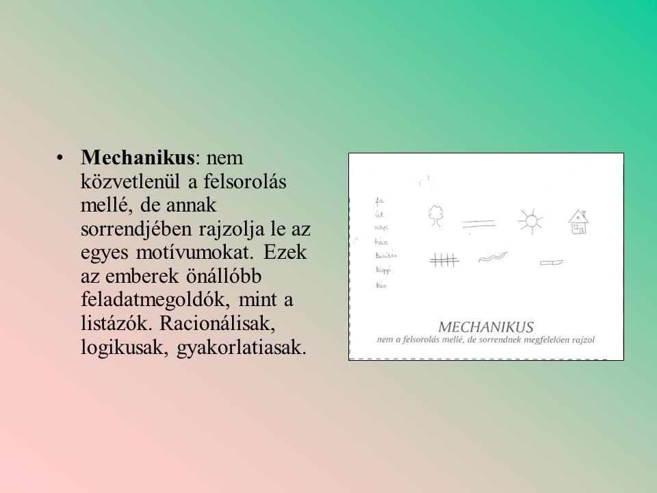 Mechanikus: nem közvetlenül a felsorolás mellé, de annak sorrendjében rajzolja le az egyes motívumokat.