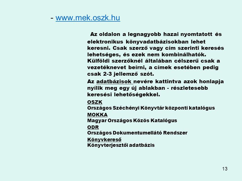 - www.mek.oszk.hu