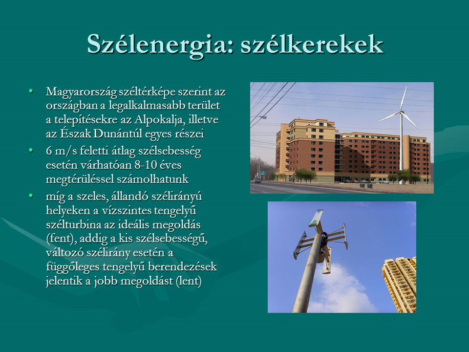Szélenergia: szélkerekek