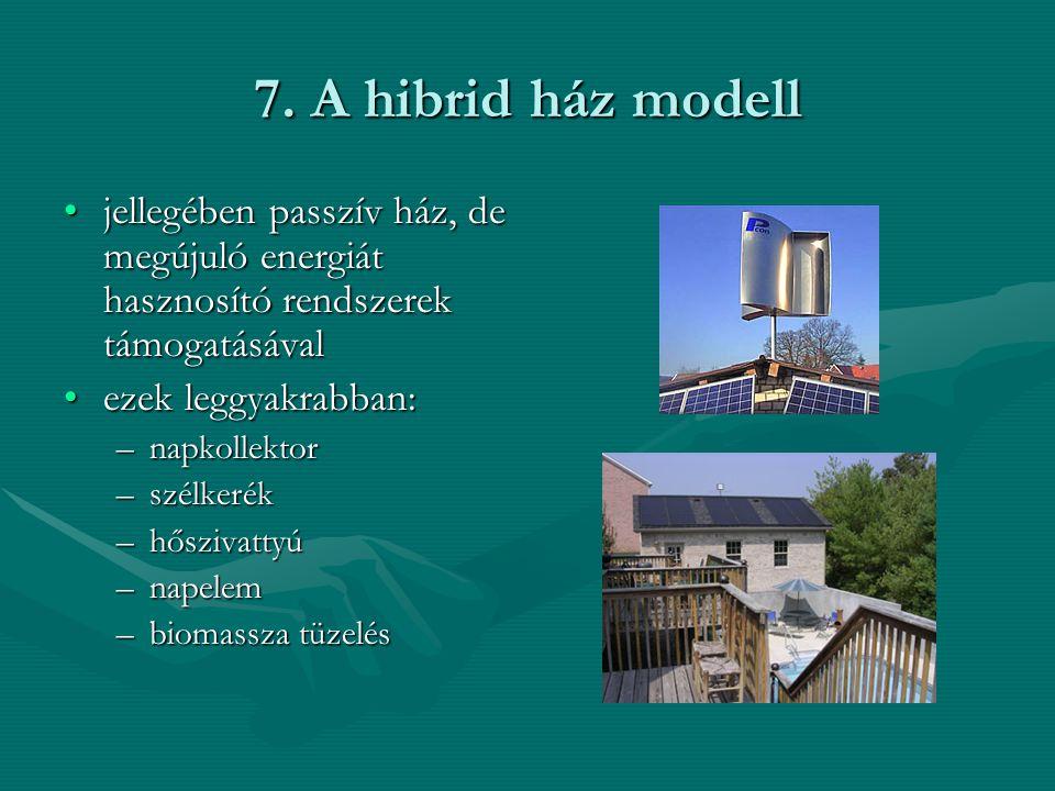 7. A hibrid ház modell jellegében passzív ház, de megújuló energiát hasznosító rendszerek támogatásával.