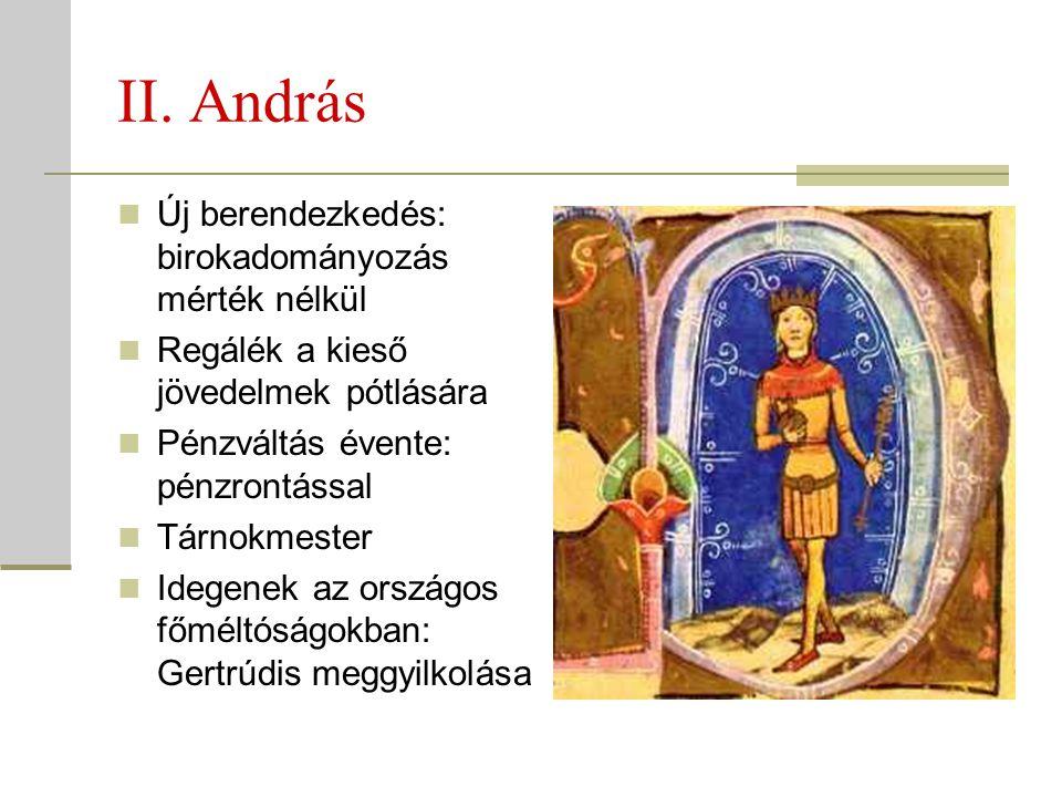 II. András Új berendezkedés: birokadományozás mérték nélkül