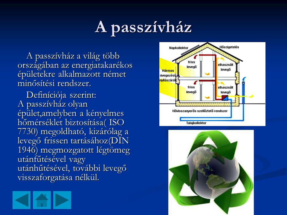 A passzívház A passzívház a világ több országában az energiatakarékos épületekre alkalmazott német minősítési rendszer.