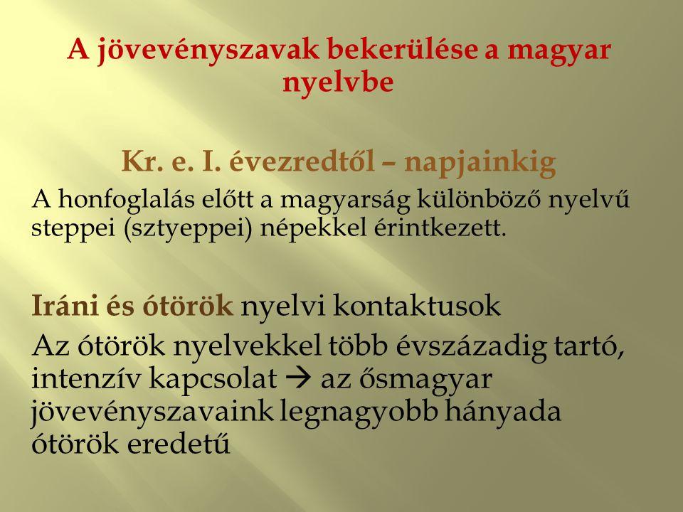 A jövevényszavak bekerülése a magyar nyelvbe