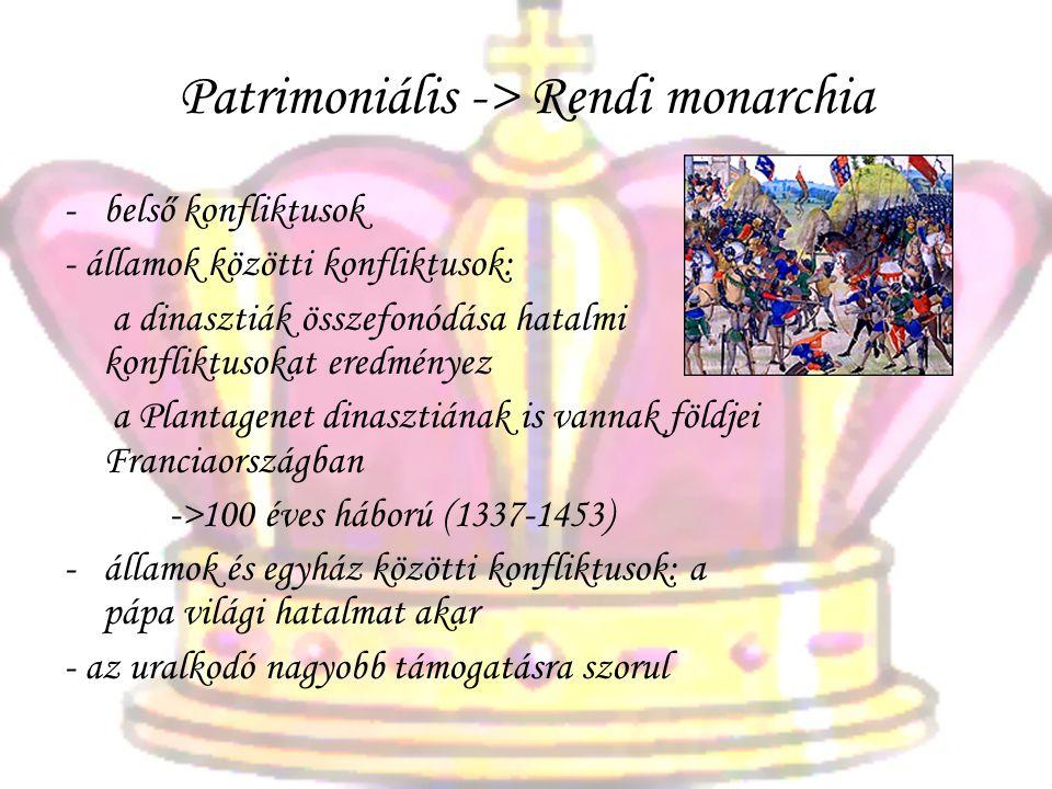Patrimoniális -> Rendi monarchia