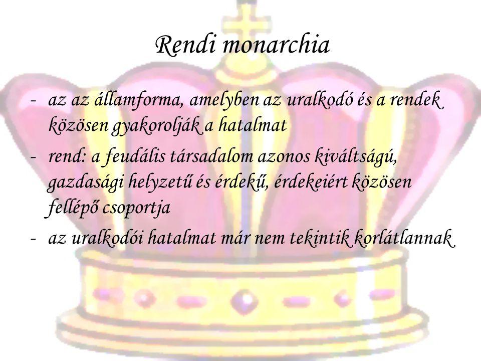 Rendi monarchia az az államforma, amelyben az uralkodó és a rendek közösen gyakorolják a hatalmat.