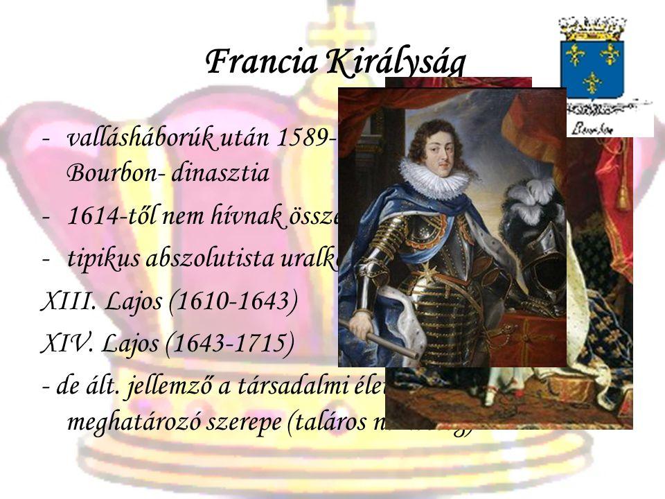 Francia Királyság vallásháborúk után 1589-től IV. Henrik és a Bourbon- dinasztia. 1614-től nem hívnak össze rendi gyűlést 1789-ig.