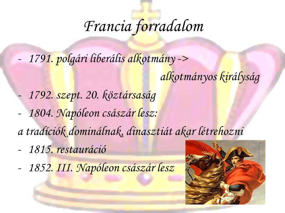 Francia forradalom 1791. polgári liberális alkotmány ->
