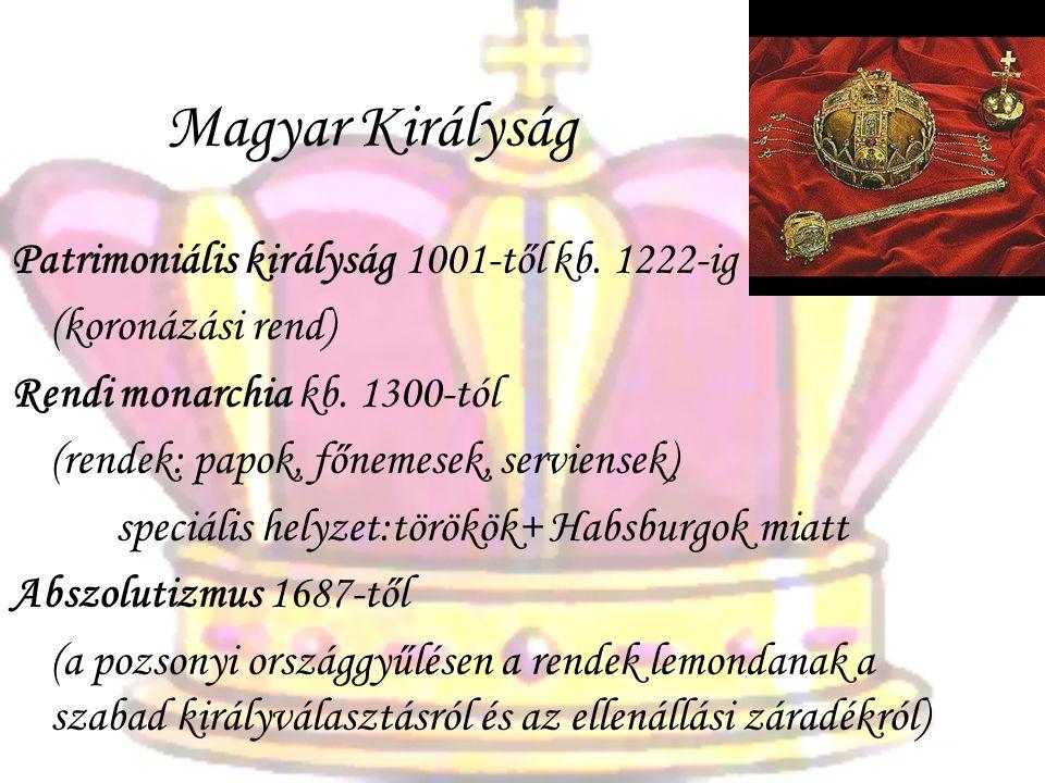 Magyar Királyság Patrimoniális királyság 1001-től kb. 1222-ig