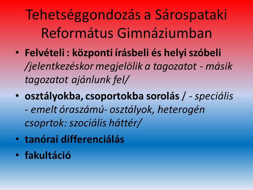 Tehetséggondozás a Sárospataki Református Gimnáziumban