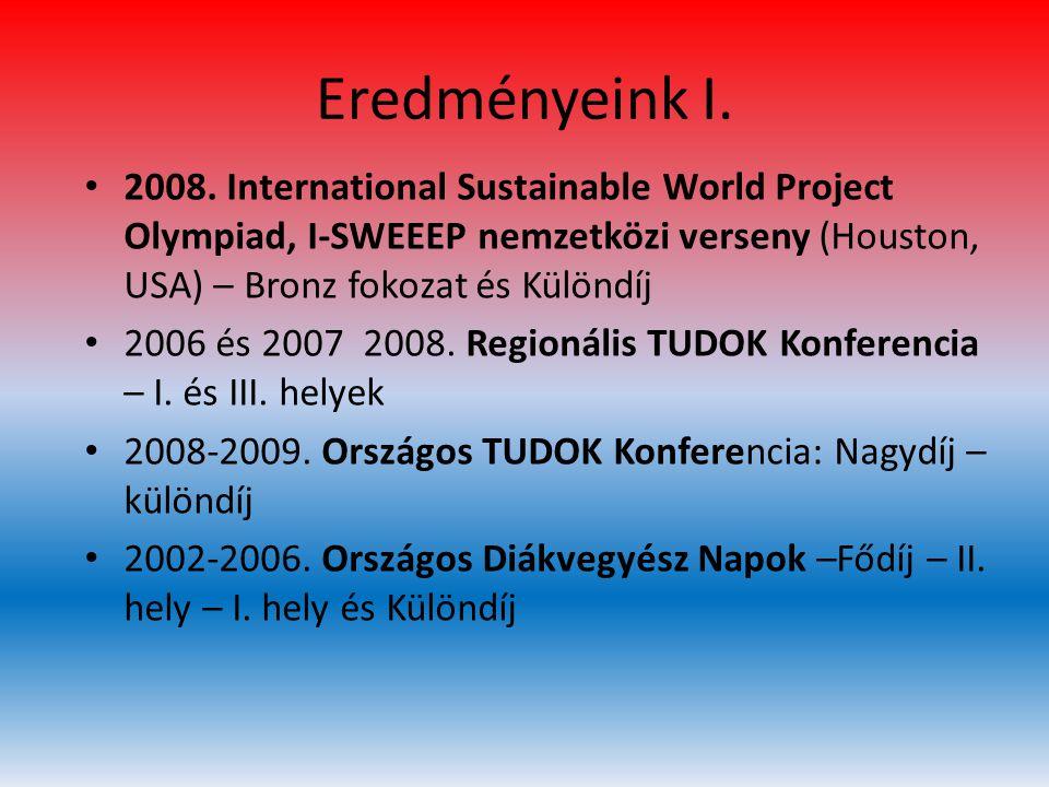 Eredményeink I. 2008. International Sustainable World Project Olympiad, I-SWEEEP nemzetközi verseny (Houston, USA) – Bronz fokozat és Különdíj.