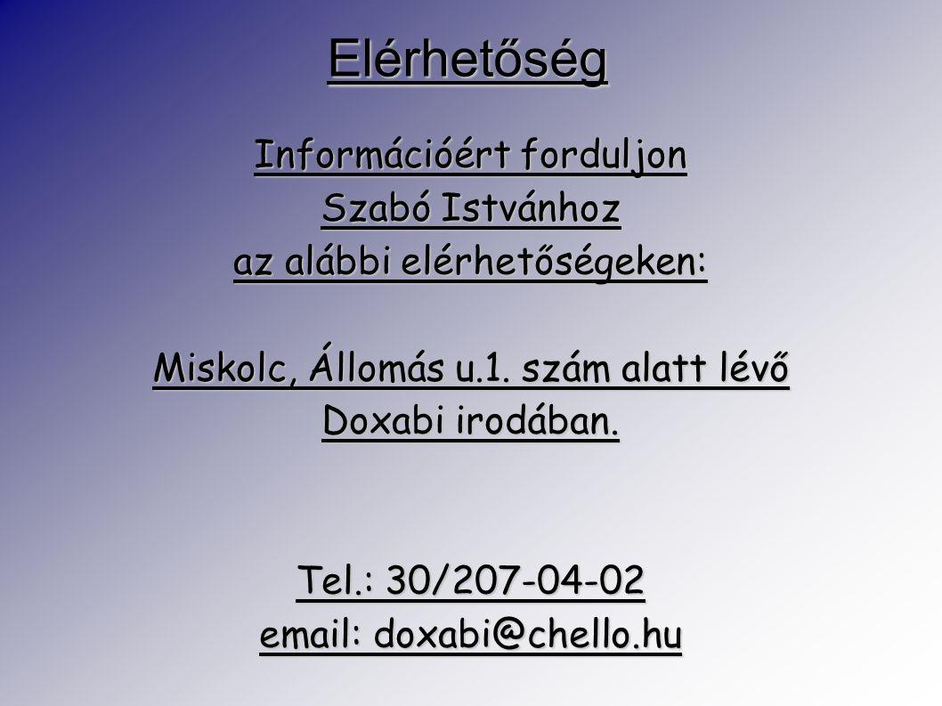 Elérhetőség Információért forduljon Szabó Istvánhoz