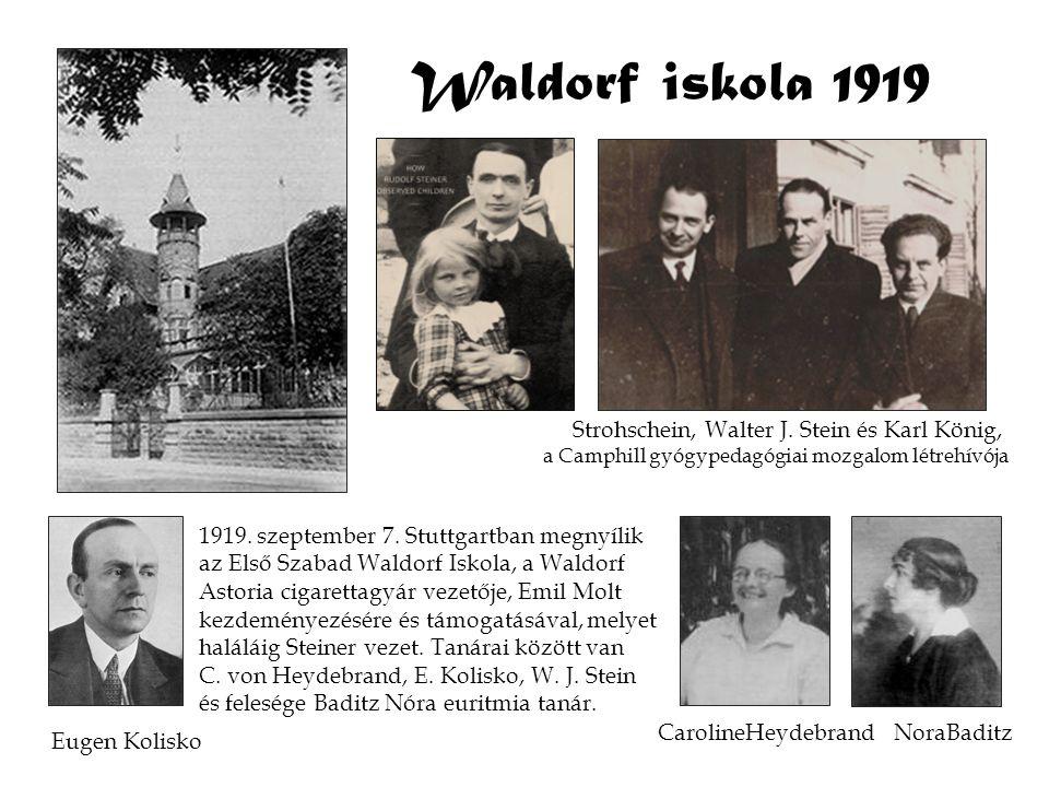 Waldorf iskola 1919 Strohschein, Walter J. Stein és Karl König,