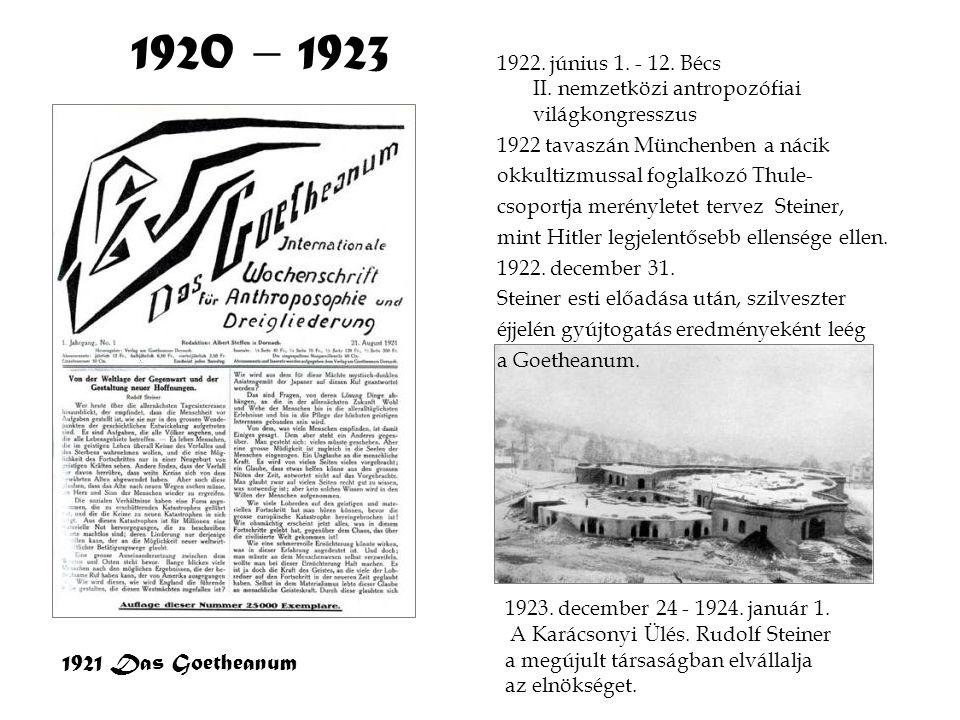 1920 – 1923 1922. június 1. - 12. Bécs II. nemzetközi antropozófiai világkongresszus.
