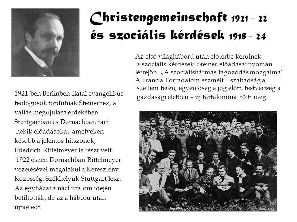 Christengemeinschaft 1921 - 22 és szociális kérdések 1918 - 24