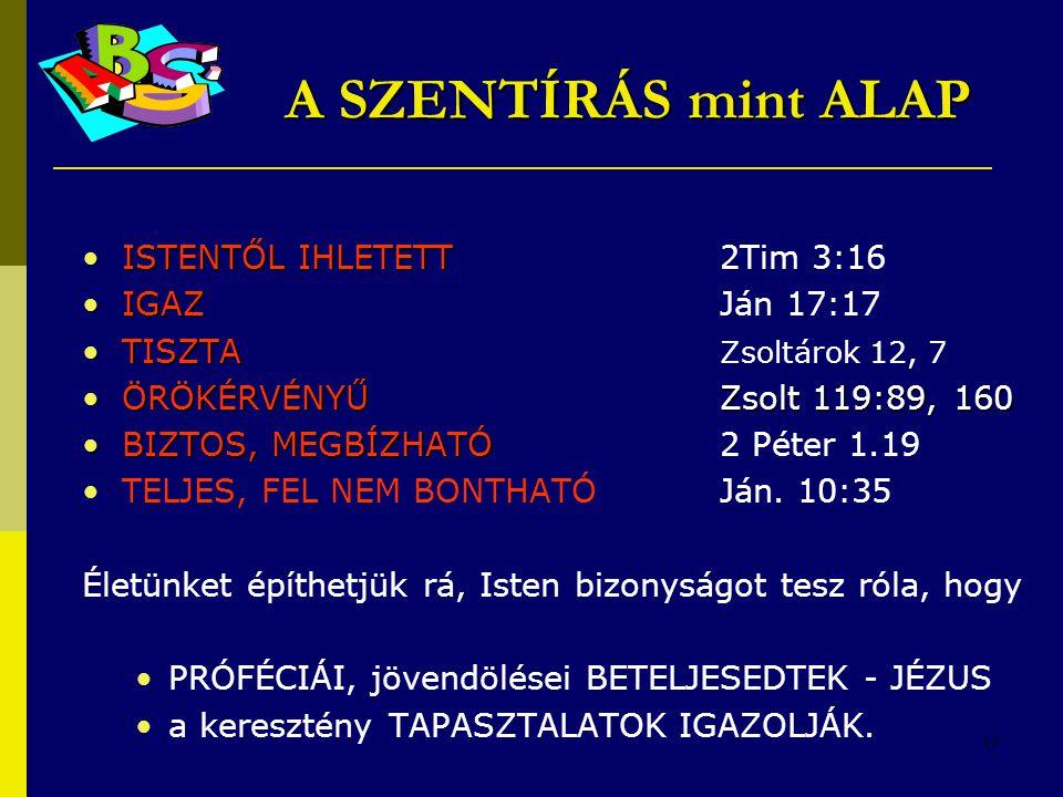A SZENTÍRÁS mint ALAP ISTENTŐL IHLETETT 2Tim 3:16 IGAZ Ján 17:17
