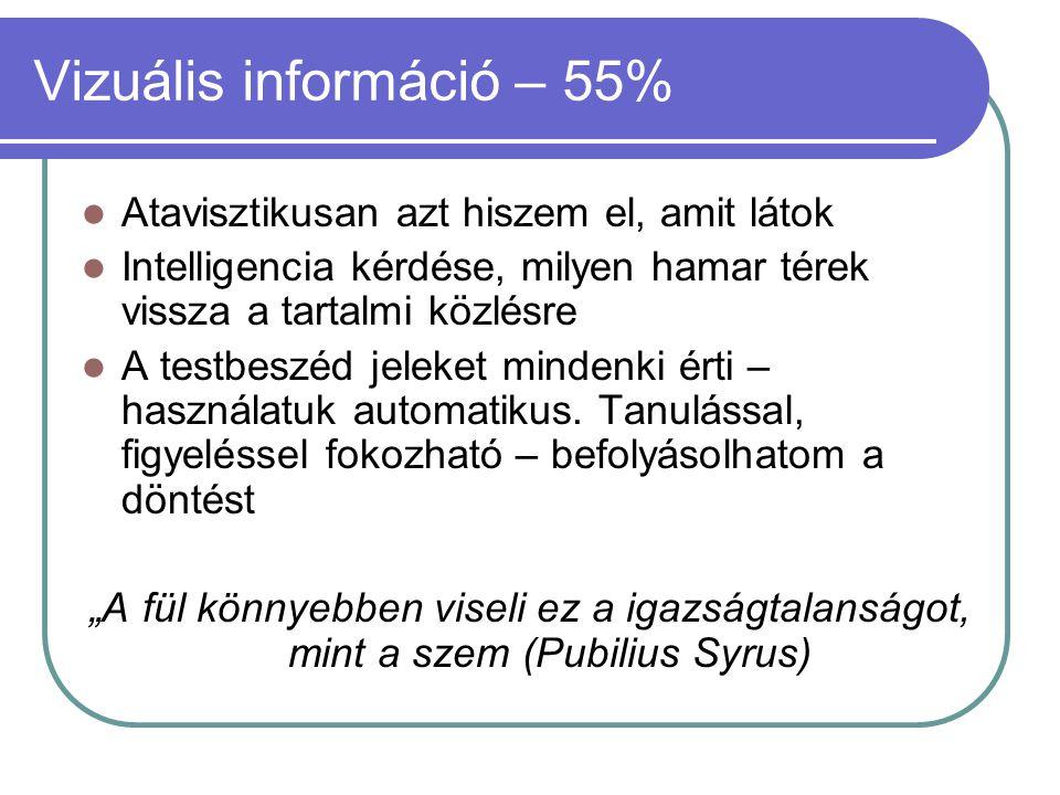 Vizuális információ – 55%