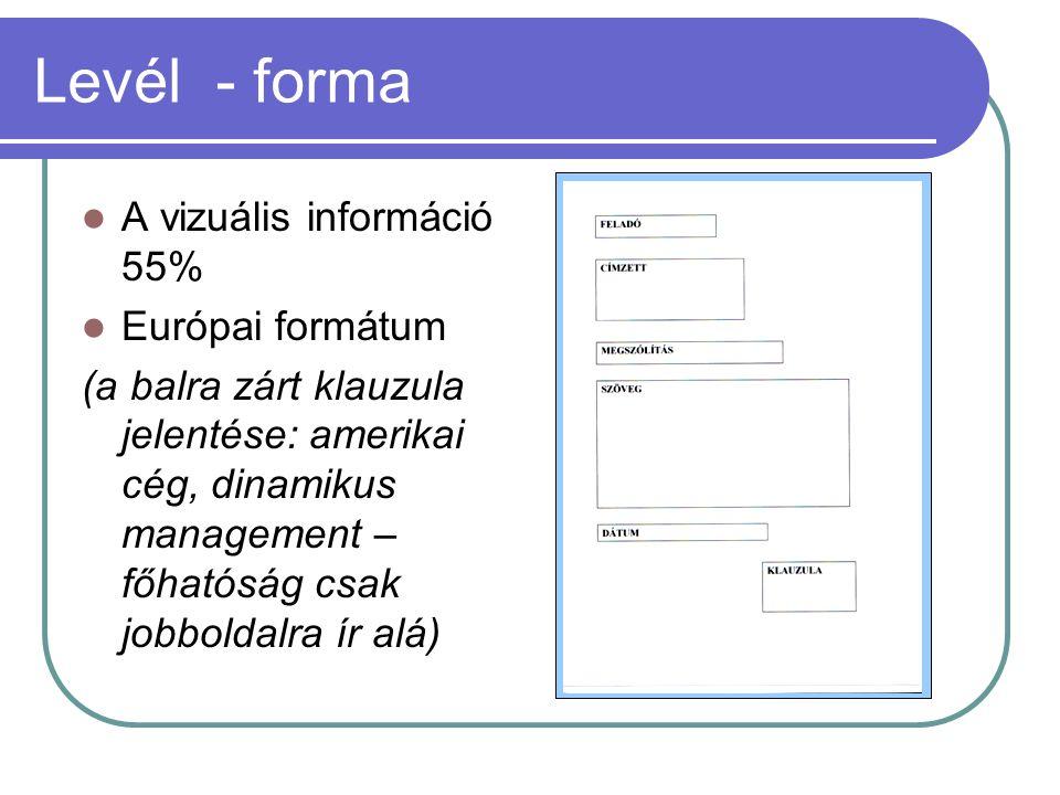 Levél - forma A vizuális információ 55% Európai formátum